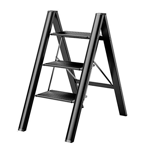 YJX Escaleras de Mano con Taburete Plegable, Escalera Ligera de 3 escalones con Pedal Ancho Antideslizante, Que Ahorra Espacio, Taburete de Escalera portátil para el hogar y la Cocina