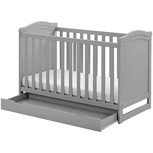Tazzaka Wooden Baby Cot, Grey 2-in-1 Toddler Bed with Drawer&Foam Mattress, Converts into Day Bed Safety Wooden Barrier 3 Position Adjustable, L124 x W64.5 x H84 cm 【UK STOCK】