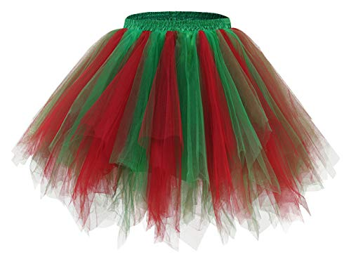 Bridesmay Women's Tutu Skirt 50s Vintage Ballet Bubble Dance Skirts for Cosplay Party Red Green S