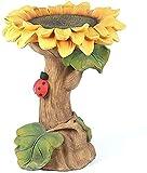 wsbdking Tanque de Aves de Resina, alimentador de Aves Silvestres y bañera Externa, Flor de Girasol y baño de pájaros Estatua de jardín decoración de césped