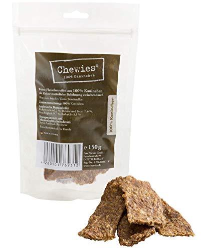 Chewies Hundesnack aus 100 % Kaninchen - 8 x 150 g - Fleischstreifen für Hunde - luftgetrocknete Kaninchenfleisch Kaustreifen - hypoallergen & getreidefrei - Dörrfleisch vom Kaninchen (1,2 kg)