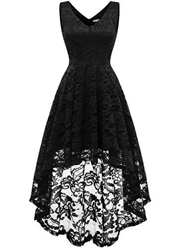 MuaDress 6666 Damen Kleid Ärmellose Cocktailkleider Knielang Abendkleider Elegant Spitzenkleid V-Ausschnitt Asymmetrisches Brautjungfernkleid Schwarz XL