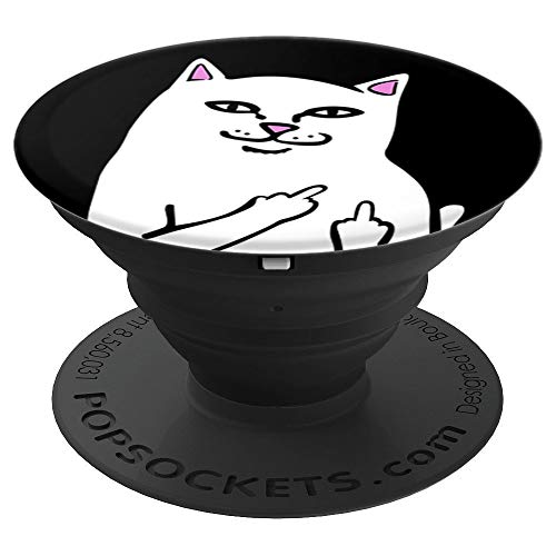 Cat Fuck You Dirty Finger Vulgar Expression Meme Lover Gift PopSockets Grip and Stand for Phones and Tablets