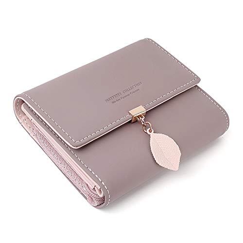 PrettyNuo Damen Geldbeutel, Quaste PU Leder Portemonnaie Kleine Brieftasche Geldbörse Für Frauen Dunkelrosa