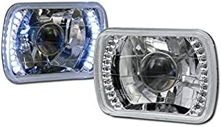 HS Power Universal 7X6 Chrome DRL White LED Sealed Beam Projector Head Lights LAMP H4 CA1