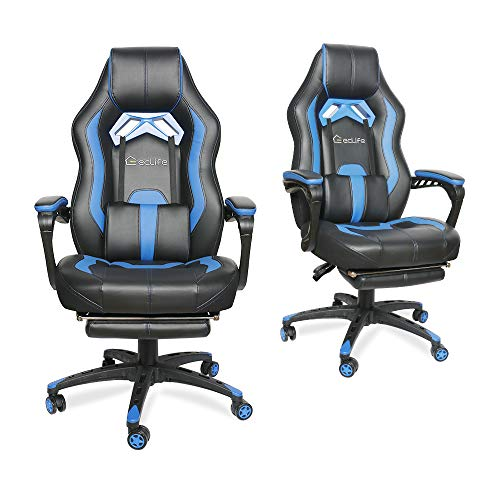 LUCKWIND Video Gaming Chair Racing Recliner - Ergonomic Adjustable Padded Armrest Swivel High Back Adult Footrest Headrest Lumbar Support Leather Breathable Bucket Seat Home Office Desk (Black & Blue) chairs Computer Dining Features gaming Kitchen