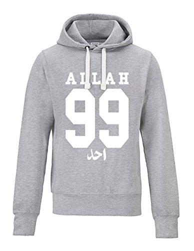 AHAD THE ONE 99 Names of Allah Hoodie (L, grau)