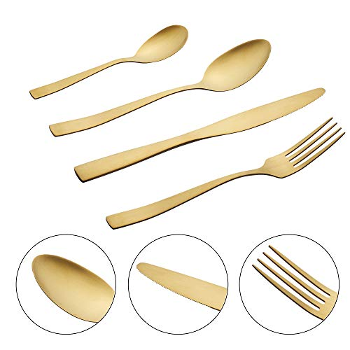 Cepewa 16 teiliges Besteck Set aus 430er Edelstahl Messer Gabel Löffel Teelöffel Designerbesteck spülmaschinenfestfür 4 Personen (Gold matt)