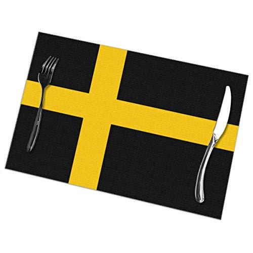 N / A Cocina Alfombrillas De Lugar,Aislante De Calor Manteles Individuales,Posavasos,Manteles Individuales De Bandera Sueca Juego De 6 Manteles Fáciles De Limpiar