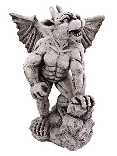 gartendekoparadies.de Massive Steinfigur Gargoyle mit Flügel Torwächter aus Steinguss frostfest