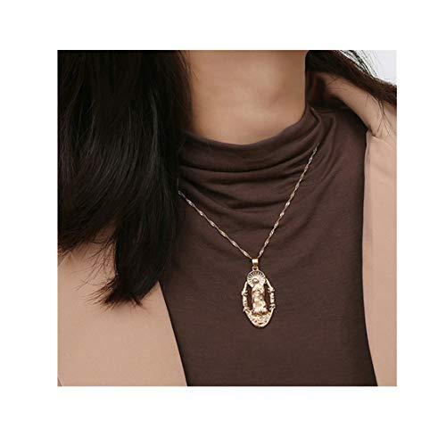 Idiytip Goldene Männer Frauen Jungfrau Maria Anhänger Madonna Anhänger Halskette Vintage Geprägt Baumeln Pullover Kette