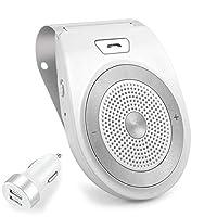 NETVIP ワイヤレス 車載 BluetoothスピーカーLINE通話対応ポータブルスピーカーハンズフリーキット 内蔵マイク 車内通話 音楽再生 ブルートゥース4.1 内蔵 GoogleアシスタントとSiriをサポート 2台待ち受け振動感知で自動電源ON サンバイザークリップ付き 車/家/オフィスに用
