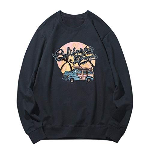 eipogp Printed Crewneck Sweatshirt for Men, Casual Long Sleeve Lightweight Fleece Ribbed Cuffs Hem Blouse Loose Hippie Tops Black