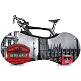 Copriruota per Bicicletta Sweet-Heart, Durable Anti-Scratch Protect Gear Tire Cover per Bici - London Landmark Cabina telefonica Rossa,