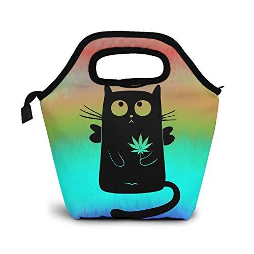 Cannabis Cat - Bolsas de almuerzo pequeñas para mujeres y niños con aislamiento impermeable para el trabajo y la escuela
