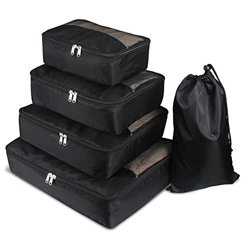 Homchen Packing Cubes Bags 5 Piece Value Set, Mesh Luggage Organizers for Travel or Home Storage (Black)