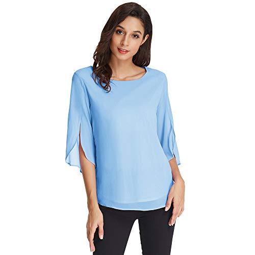 GRACE KARIN Camicetta Donna Manica 3/4 Scollo Tondo Chiffon Blusa Casual Elegante per Estivo Primavera Azzurro L CLAF15-6