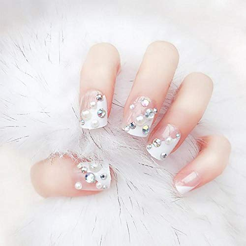CLOAAE 24pcs Simulation Pearl Nail Art Tips with Bride Wedding Shining Rhinestone Beauty False Nails White Color French Fake Nail