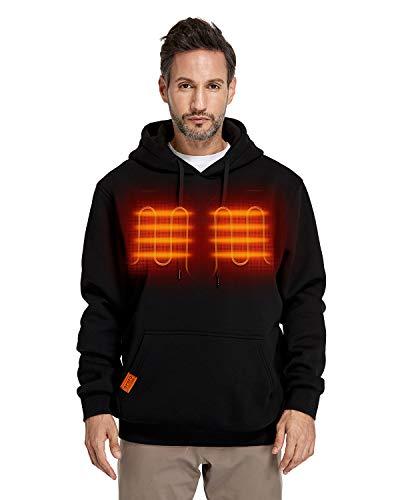ORORO 2021 Heated Pullover Hoodie, Fleece Hooded Sweatshirt with Battery Pack (Unisex) (Black,L)