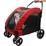 Belle Vous Carrito para Mascotas para Gatos y Perros – Capacidad de 50 kg Carrito para Perros Medianos y Peq Fácil de Plegar para Almacenaje y Viaje - Carro para Mascotas Ventana Cremallera y 4 Ruedas
