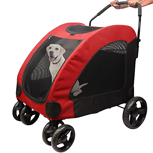 BELLE VOUS Pet Jogger Stroller Trolley for Cats and Dogs - 50kg Capacity -Easy Fold for Storage and Travel - Pushchair Pram Buggy Carrier with Zip Windows and 4 Wheels for Small and Medium Dogs