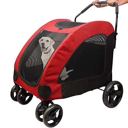 BELLE VOUS Passeggino per Cani e Gatti Trolley - capacità 50 kg - Facile da Piegare per Viaggi - Passeggino per Gatti Carrozzina con Finestre e 4 Ruote - Passeggino Cani di Piccola e Media Taglia