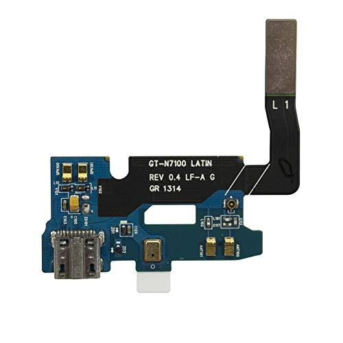OnlyTech platte kabel voor oplaadaansluiting, compatibel met Samsung Galaxy Note 2 N7100, intern onderdeel met USB-aansluiting, microfoon en antenne