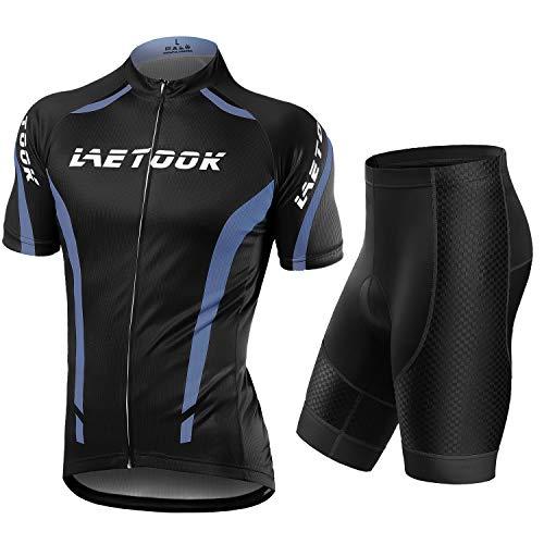 Letook Abbigliamento Ciclismo Uomo Set Maglia e Pantaloncini Completo Ciclismo Estivo da MTB Gel Imbottiti Tuta Bici (Grigio, XL)