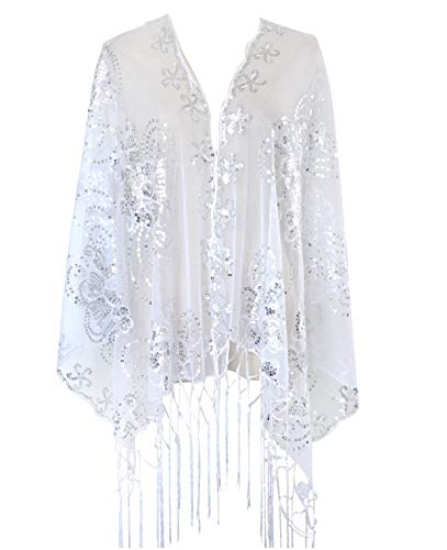 L'vow Women's Glittering 1920s Scarf Mesh Sequin Wedding Cape Fringed Evening Shawl Wrap(Silver)