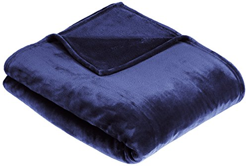Amazon Basics Velvet Plush Throw Manta suave con tacto de terciopelo, marina, 168 x 229cm