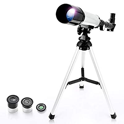 Telescope for Kids, Astronomical Telescope Zoom 90X HD Outdoor Merkmak Educational Telescope with Tripod 360/50mm Spotting Scope for Kids Beginners (Silver)