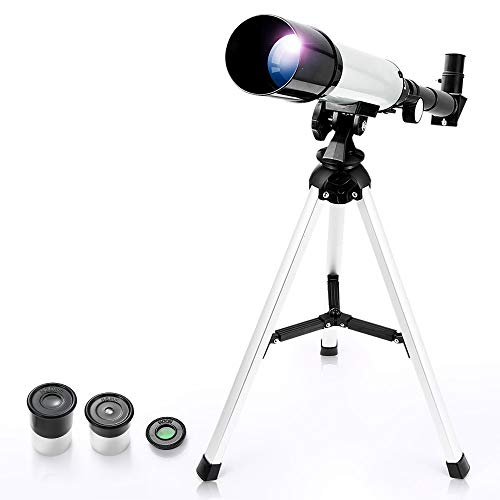 Telescope for Kids, Astronomical Telescope Zoom 90X HD Outdoor Merkmak Educational Telescope with Tripod 360/50mm Spotting Scope for Kids Beginners (Silver)