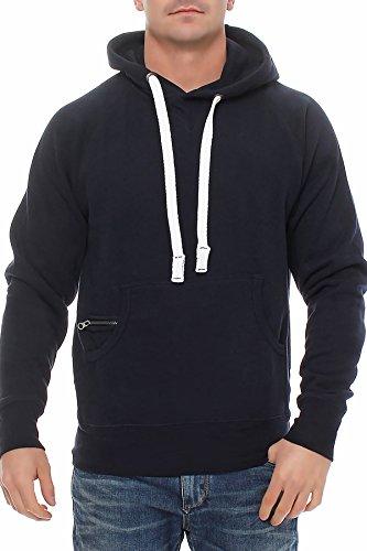 Happy Clothing Herren Pullover Dunkelblau mit Kapuze Pulli Übergröße bis 3XL 4XL 5XL, Größe:XXL, Farbe:Dunkelblau
