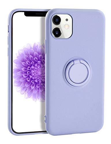 iPhone 11 Case Silicone,Yoopake iPhone 11 Case Liquid Silicone Case for Women with Ring Stand Holder Support Magnetic Car Mount Soft Slim Protective Phone Cover Case for iPhone 11,Lavender Purple