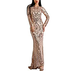 Gold O-Neck Long Sleeve Retro Sequin Maxi Gorgeous Dress