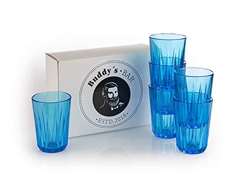 Buddy´s Bar – Juego de 6 Vasos de plástico Tritan, BPA, Aspecto de Cristal, Resistente a roturas, Reutilizables y Aptos para lavavajillas, Color Azul, 0,15 Liter