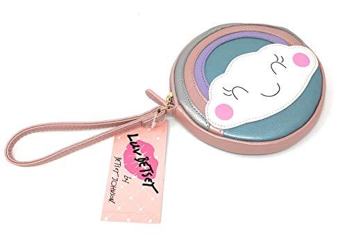 Luv Betsey Johnson Coin Purse Pink Blue Rainbow Cloud Face Wristlet