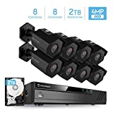 Amcrest 4MP Security Camera System, w/ 4K 8CH PoE NVR, (8) x 4-Megapixel 2.8mm Wide Angle Lens Weatherproof Metal Bullet POE IP Cameras, NV4108E-IP4M-1026EB8-2TB (Black)