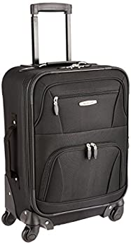 Rockland Pasadena Softside Spinner Wheel Luggage Black Carry-On 20-Inch