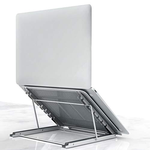 Lidasen Laptop Stand Tablet,Foldable Portable Ventilated Desktop Laptop Holder, Cooling Stand (10'-15.6') compatible with Dell XPS, HP, Lenovo,Universal Lightweight&Adjustable Ergonomic Tray (Silver)