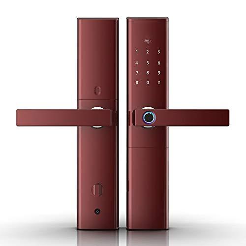 Smart Fingerprint Door Lock Security Intelligent Lock Biometric Electronic WiFi Door Lock with Bluetooth APP Unlock,red