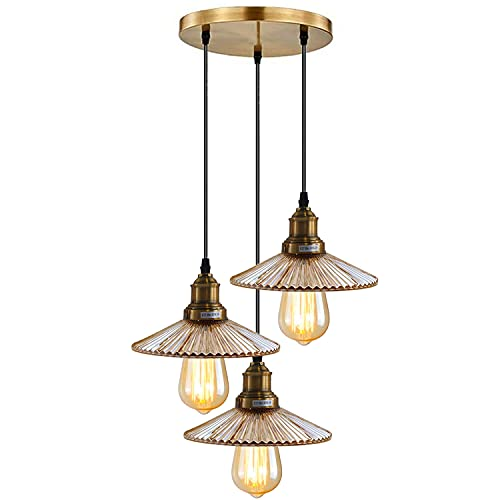 Moderna lámpara colgante de 3 vías para techo, lámpara de techo, lámpara de cristal, acabado de latón amarillo, E27, kit de iluminación para cocina, isla de estar, comedor