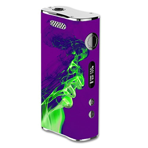 Decal Sticker Skin WRAP Green Smoke Effect Purple Background for Eleaf iStick 100W