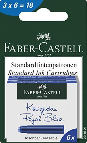 Faber-Castell - Vaso de tinta, color azul cobalto Tintenpatronen Standard 3x6er