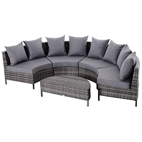 Outsunny Gartenmöbel Set, Gartensofa mit Beistelltisch, Lounge mit Kissen, Fünfteilig, Rattan, Grau, 96 x 65 x 65 cm (Sessel), 90 x 45 x 30 cm (Beistelltisch)