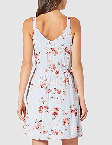 Only ONLKARMEN S/L Short Dress WVN Noos Vestido, Cashmere Blue/AOP: Rose Flowers, 42 para Mujer