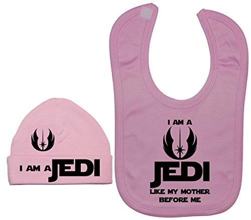 Je suis un Jedi comme MA Mère avant de Me Baby Bavoir et bonnet/Casquette 0 à 12 mois - Rose - XXS