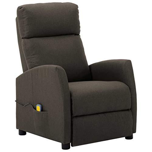 vidaXL Massagesessel mit Massagefunktion Heizfunktion Fernsehsessel Relaxsessel Liegesessel TV Sessel Ruhesessel Polstersessel Taupe Stoff