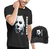 Photo de AYYUCY Homme T- T-Shirt Polos et Chemises Halloween Michael Myers Mans Casual Short Sleeve with Cowboy Hat Cap