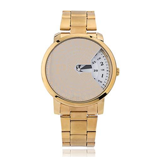 GLEMFOX heren kwartshorloge Alloy Strap mode kledingaccessoires horloge Creative Dial heren sporthorloge armband goud